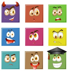 Facial expressions on squares vector