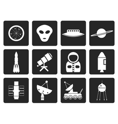 Black astronautics and space icons vector