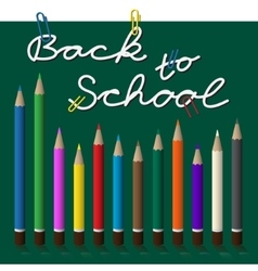 Back to school text with paper clip and pencils vector