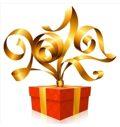 golden ribbon and gift box Symbol of New Year 2017 vector image