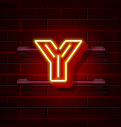 Neon city font letter y signboard vector