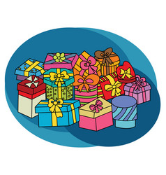 Christmas gift boxes design set vector
