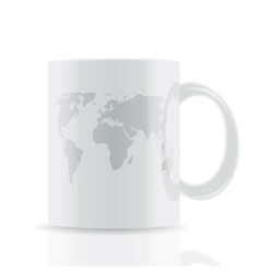 white cup with map isolated on white background vector image
