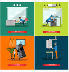 Set of workers profession square posters in vector