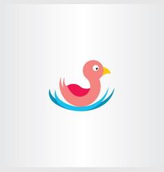 Duck in water icon symbol vector