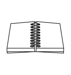 open notebook spiral paper blank utensil vector image