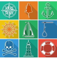 Set of flan nautical icons vector