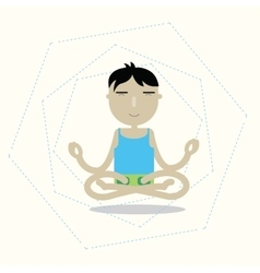 Man sitting cross-legged meditating vector