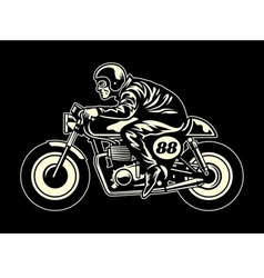 Man ride a cafe racer vector