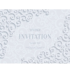 White 3d vintage invitation card with vector