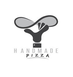 Handmade pizza with hand of chef vector
