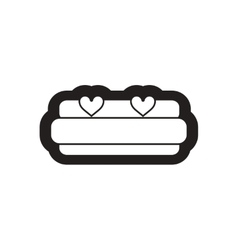 Flat icon in black and white bed heart vector