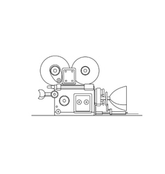 Retro cinema film camera lineart vector