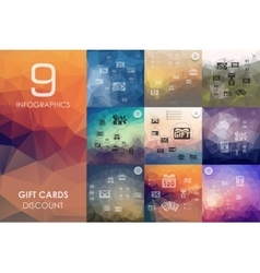 Gift cards infographic with unfocused background vector