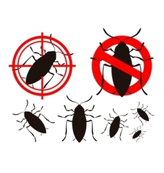 Pest control cockroach icon set vector