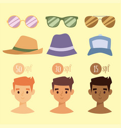 Beach accessories summer hats collection vector