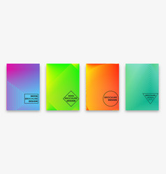 Brochure design with halftone lines and neon vector