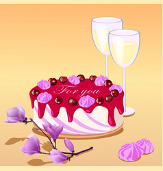 cake two glasses and vector image vector image