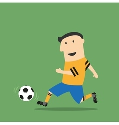 Cartoon football player running with the ball vector image vector image