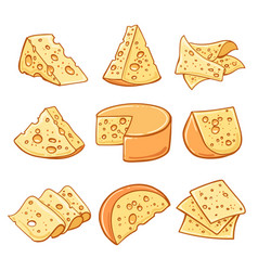 cheese doodle icons set vector image vector image