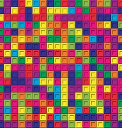 Colorful square bricks mosaic seamless pattern vector image