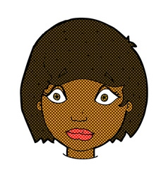 Comic cartoon worried female face vector
