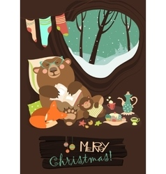 Cute bear with cub and little fox sleeping in his vector image vector image