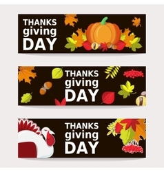 Hand Drawn Happy Thanksgiving Bunner Templates vector image vector image