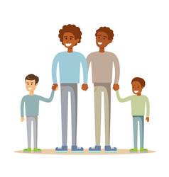Happy mixed-race gay family vector