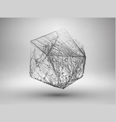 Icosahedron with connected lines and dots vector