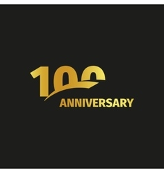 Isolated abstract golden 100th anniversary logo on vector image
