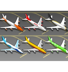 Isometric airplanes in six livery in front view vector