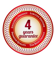 Label on 4 year guarantee vector image vector image