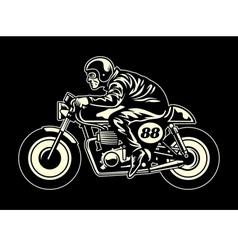 Man ride a cafe racer vector