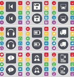 Media skip Floppy Monitor Headphones Battery Truck vector image vector image