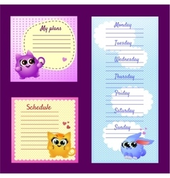 Pattern notes with cute funny pets vector image