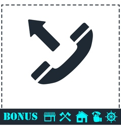 Phone call outgoing icon flat vector image vector image