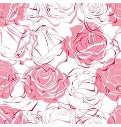 pink roses seamless pattern vector image vector image