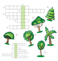 puzzle kids activity sheet - crossword with trees vector image