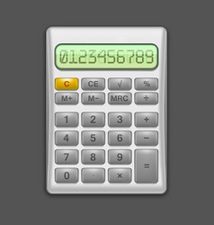 realistic electronic grey calculator vector image