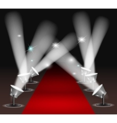 Red carpet with spotlights vector image vector image