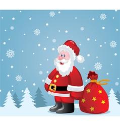 santa claus with big sack vector image vector image
