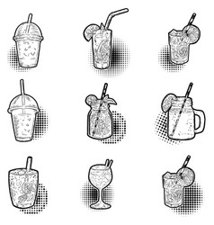 set of hand drawn cocktail icons design elements vector image