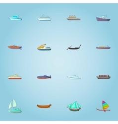 Ship icons set cartoon style vector