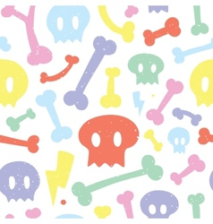 Skulls and bones white pattern vector image vector image