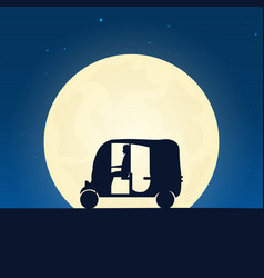 Tuk tuk silhouette banner with moon on the night vector