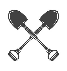 Two crossed shovels Black on white flat logo vector image vector image