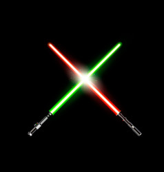 Two realistic light swords crossed green and red vector