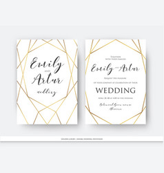 wedding double invitation save the date card vector image