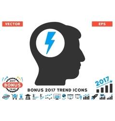 Brain electric shock flat icon with 2017 bonus vector